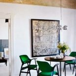 Bright Emerald Green Dining Chairs With A Warm Gold Ceiling Makes An