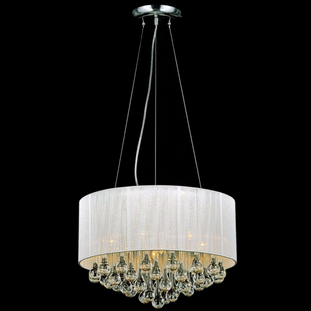 Brizzo Lighting Stores 18 Gocce Modern String Drum Shade Crystal