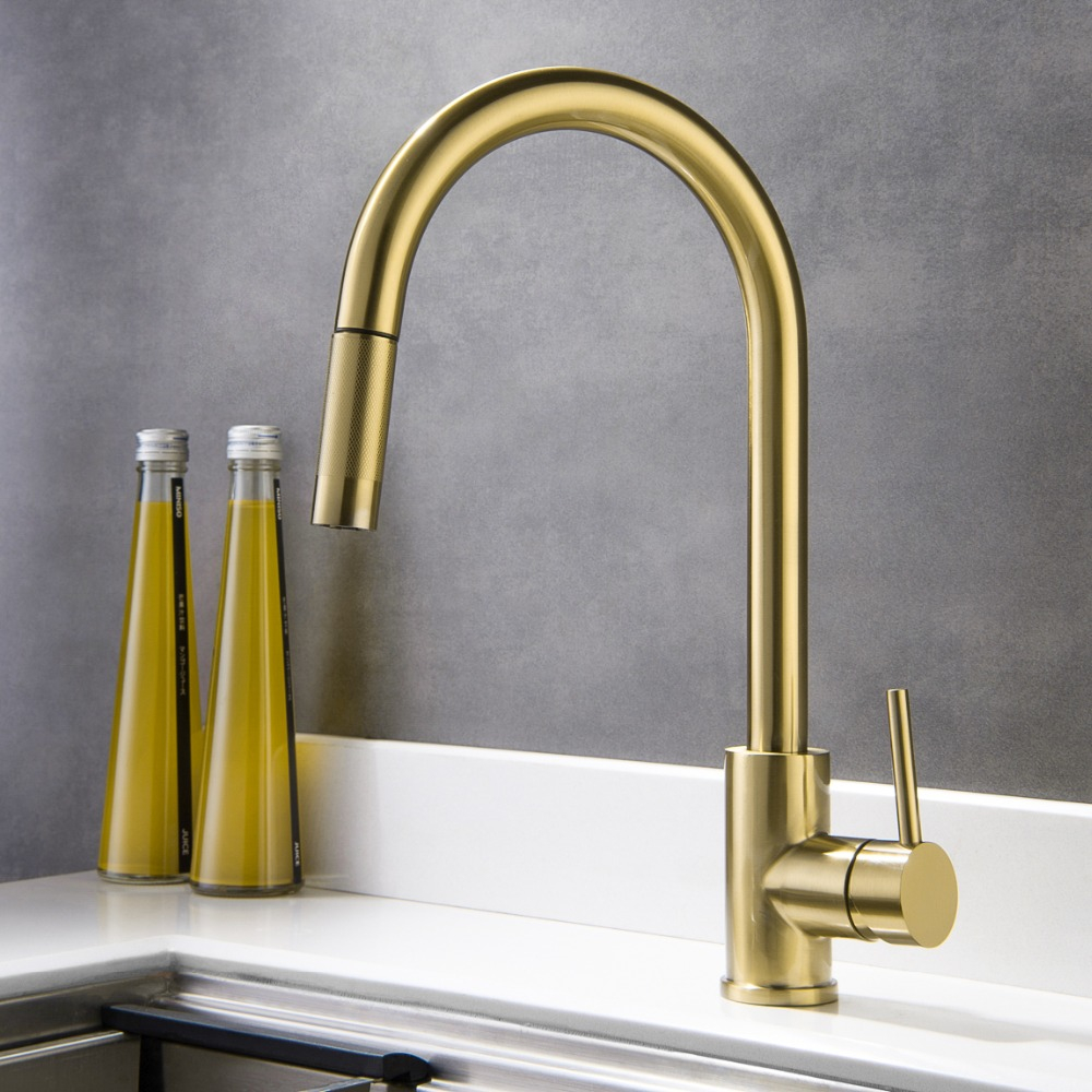 Brushed Gold Top Quality Kitchen Sink Faucet Lead Free All Stainless