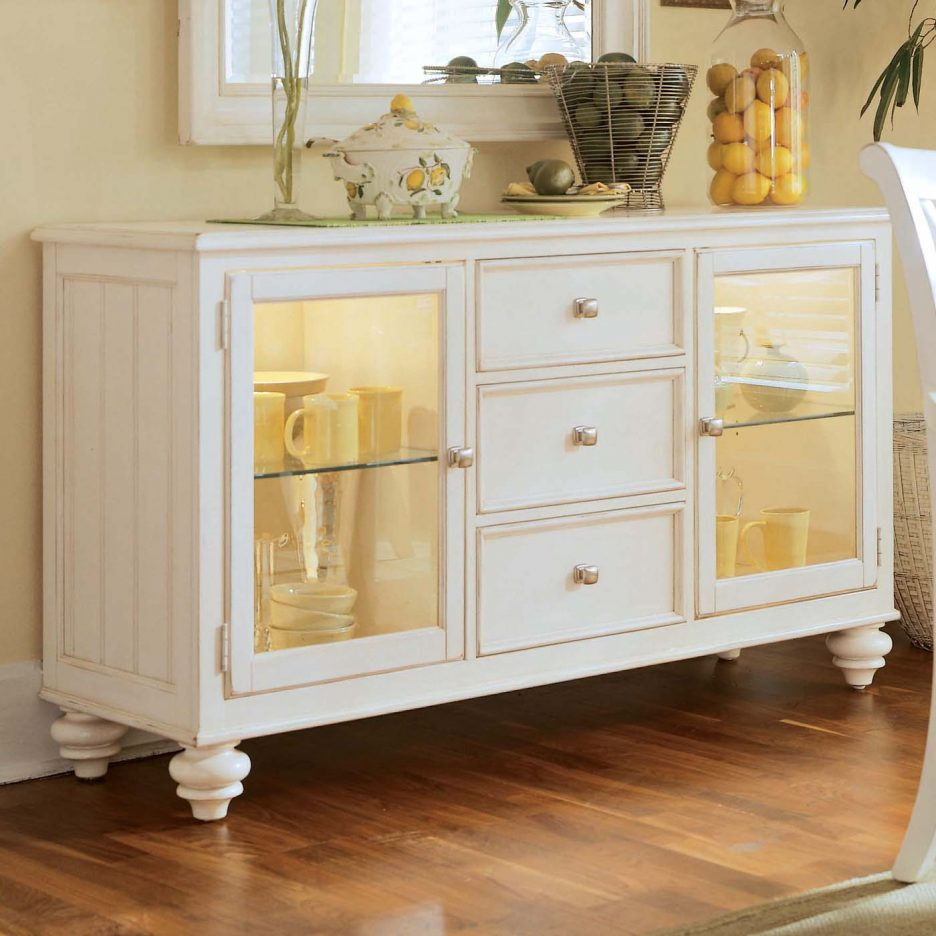 Buffet Table With Glass Doors Kitchen Storage Sideboard Narrow