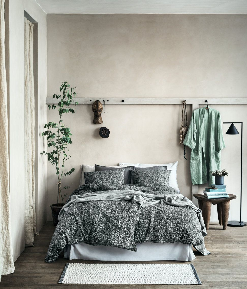 Calming Sage Green And Stone Grey Bedroom From Hm Home Unusual