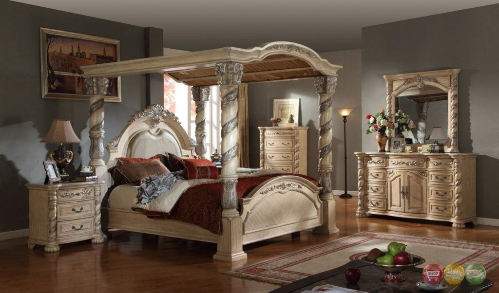 Castillo De Cullera Canopy Bedroom Collection Antique White Finish