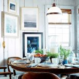 Casual Beach Cottage Breakfast With Antique Globe Pendant Lighting