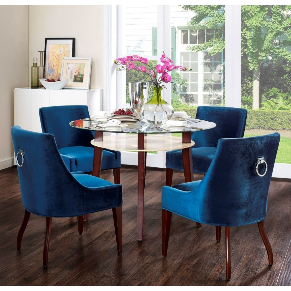 Chairs Inspiring Blue Dining Chairs Navy Blue Velvet Dining For