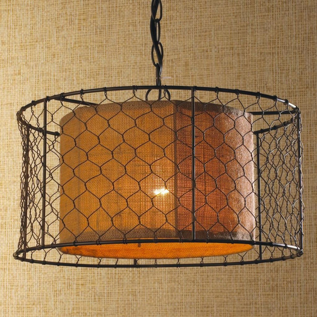 Chicken Wire With Burlap Drum Pendant Also Looks Like It Could Be