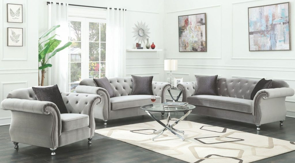 Coaster Frostine Silver Living Room Set Frostine Collection 13
