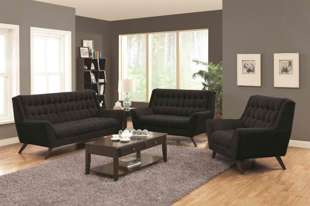 Coaster Natalia Retro Living Room Set In Black Local Furniture Outlet