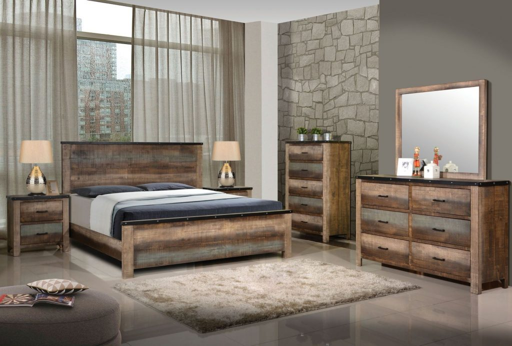 Coaster Sembene Antique Multicolor Panel Bedroom Set Sembene