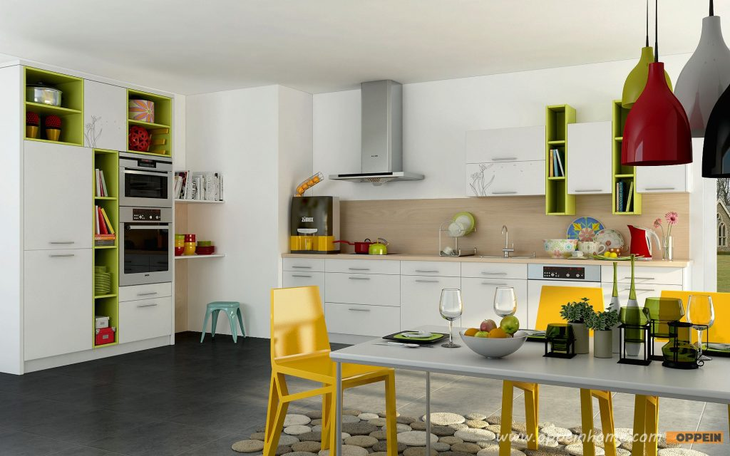Color Mix Lacquer Kitchen 1 Daffodil Pattern Green And White
