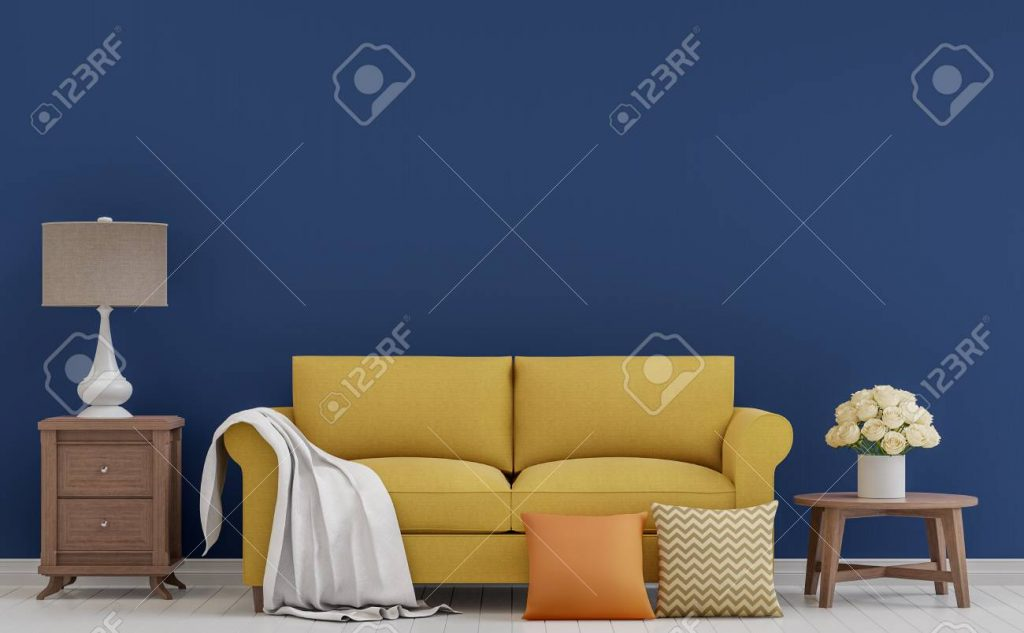Colorful Vintage Living Room 3d Rendering Imagethe Room Has Stock