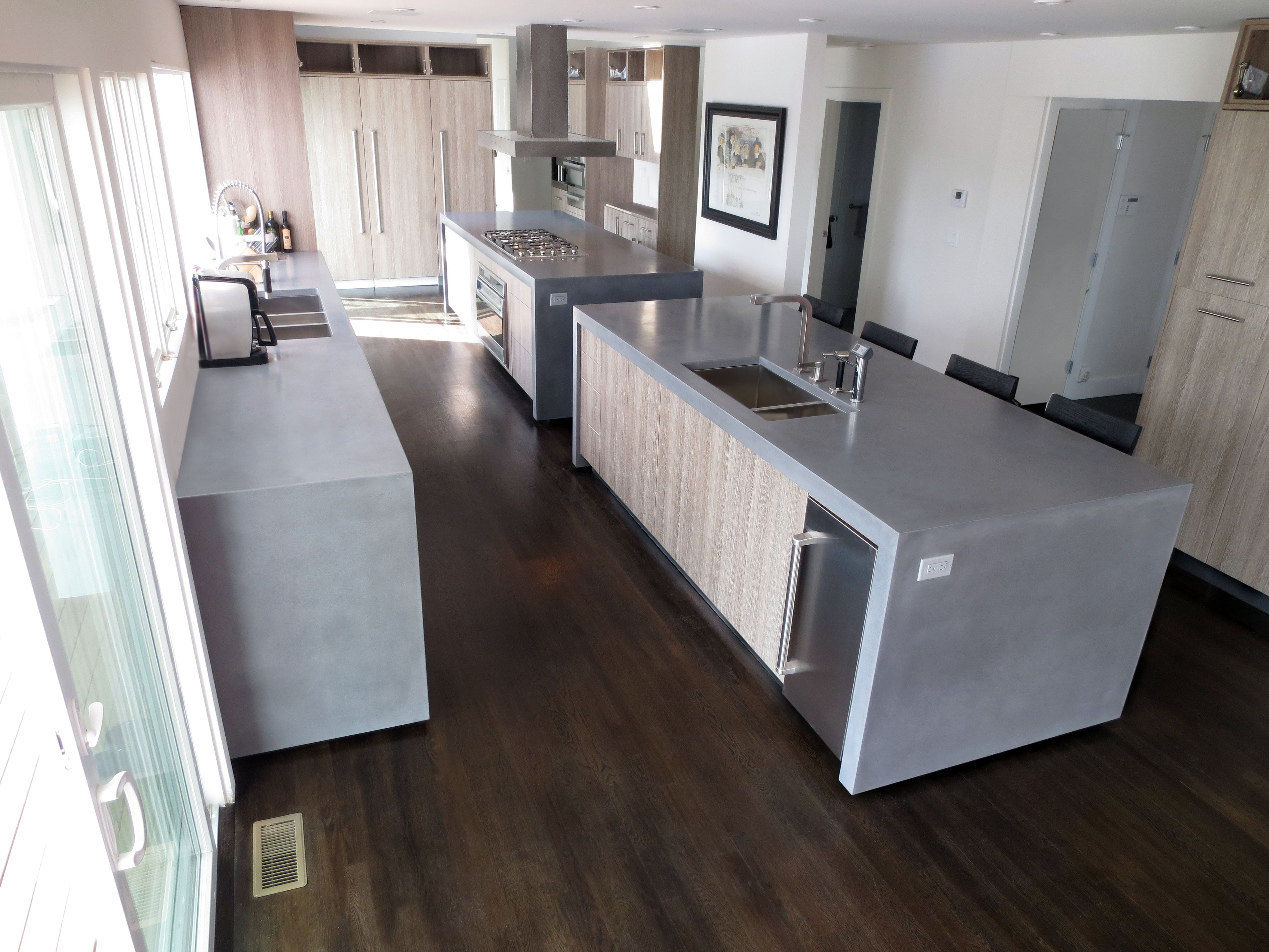 Concrete Island Kitchen Countertops With Double Waterfall Lags