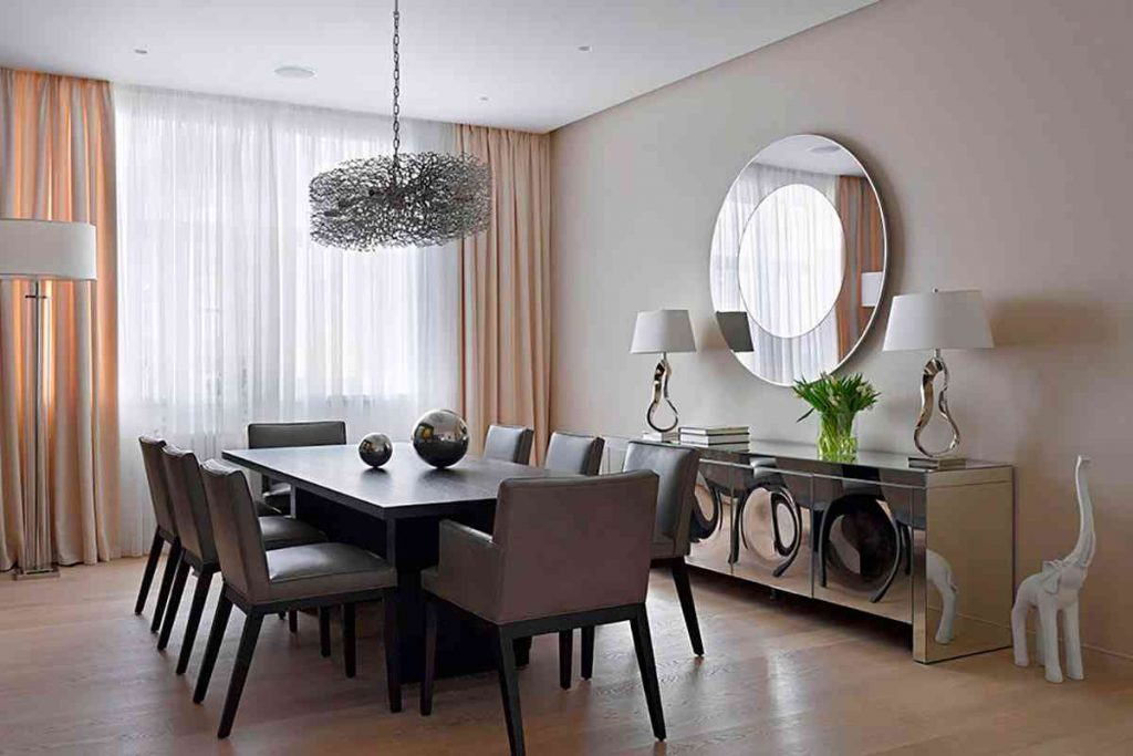 Contemporary Dining Room Mirror Elegant Cream Curtains Funky