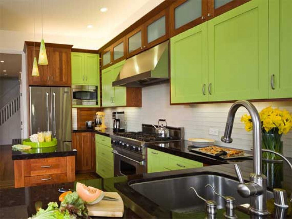 Contemporary Lime Green Lacquered Kitchen Cabinets With White Solid