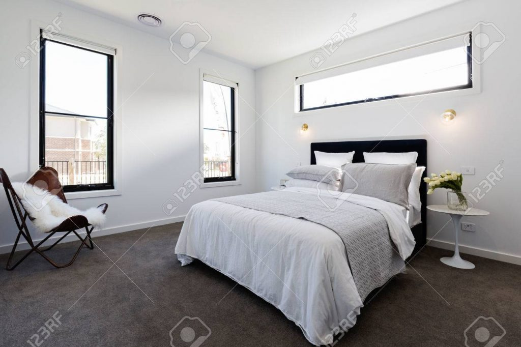 Contemporary Master Bedroom Suite In A Luxury New Australian Stock