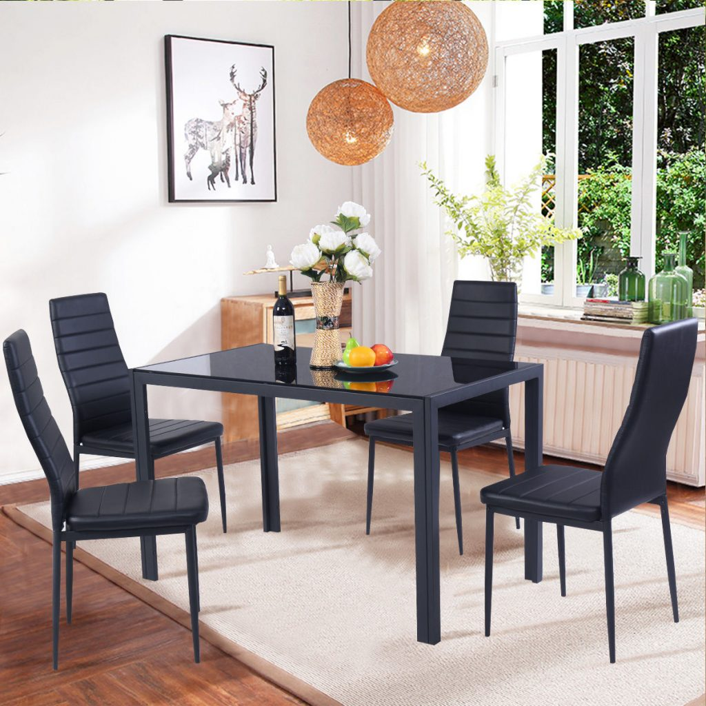 Costway 5 Piece Kitchen Dining Set Glass Metal Table And 4 Chairs
