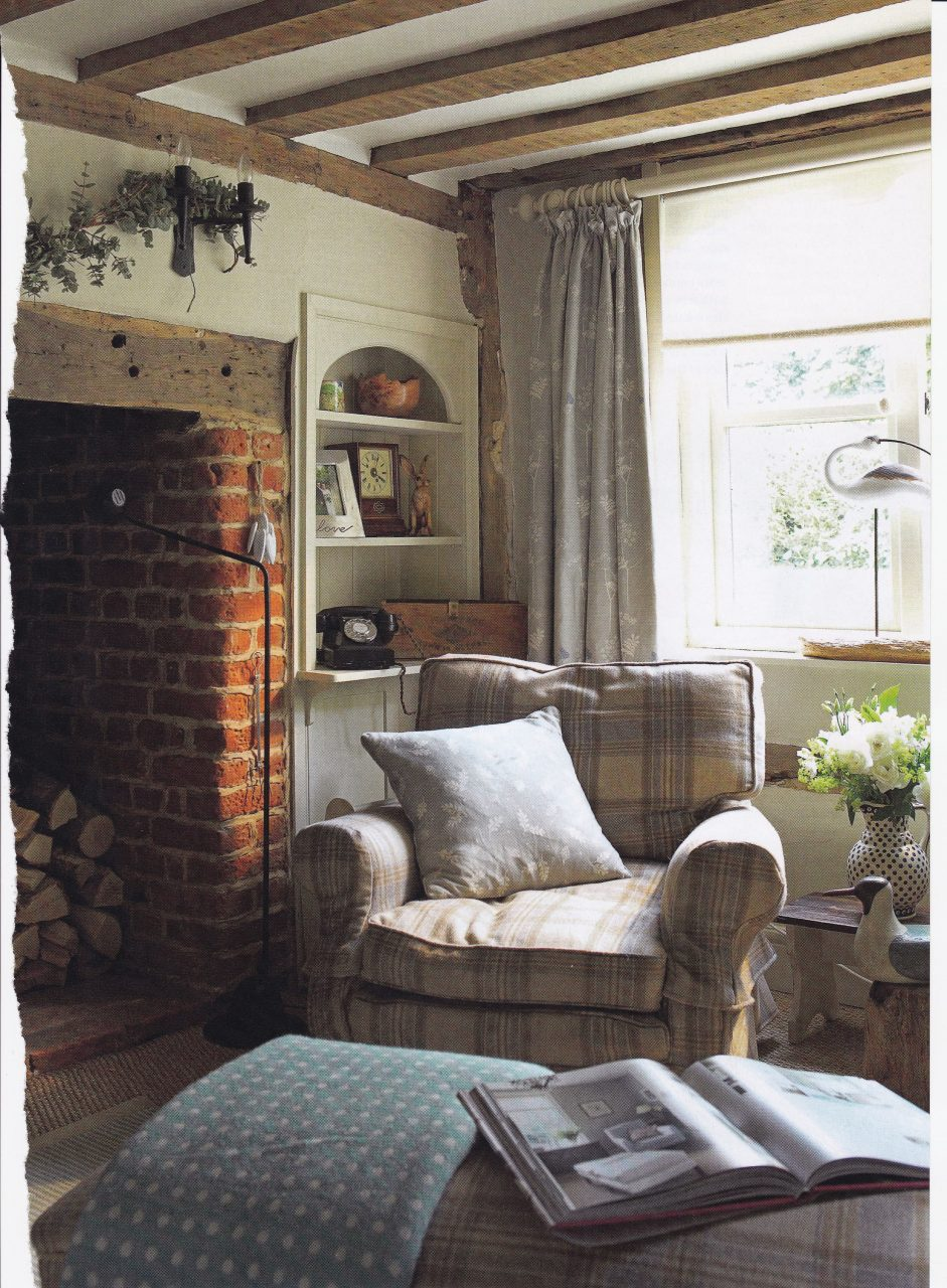 Cosy Cottage Living Room Checked Armchair And Footstool With Throws