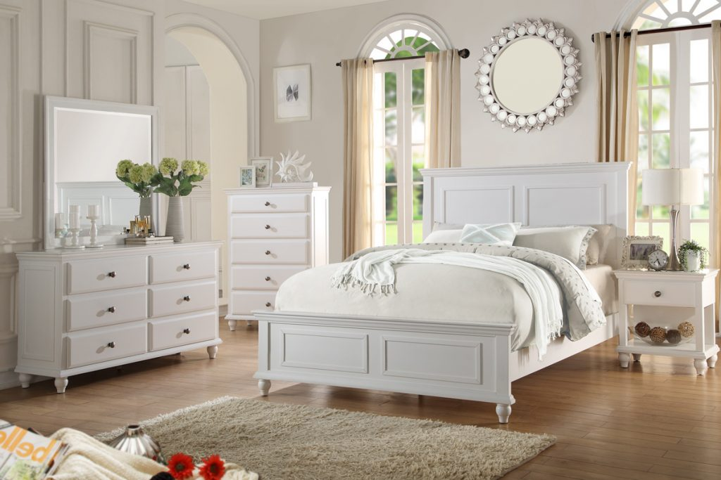 Country Living Bedroom Furniture Classic White Color 4pc Set Queen