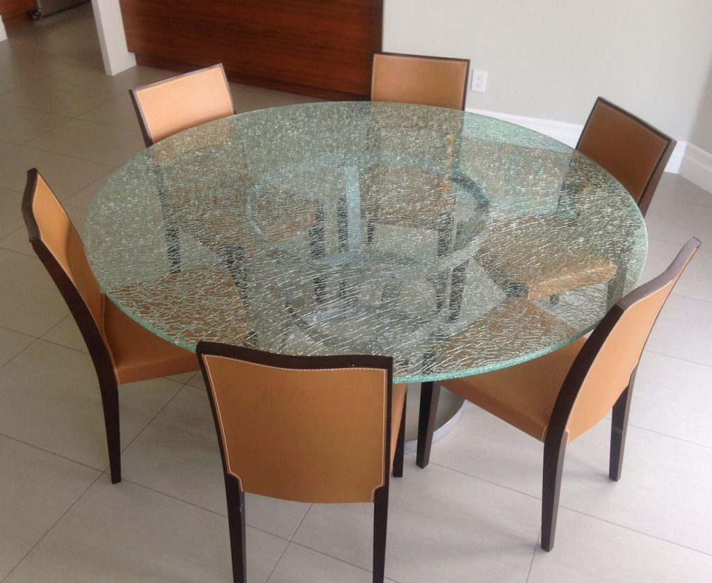 Crackle Glass Dining Table With Wood Base Sets House Photos