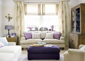 Lavender and Brown Living Room