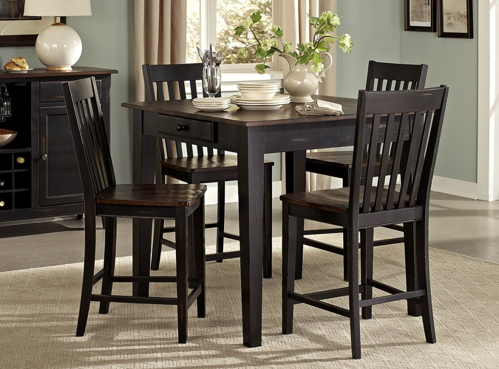Dark Brown Black Finish 5 Pc Counter Height Dining Set Caravana