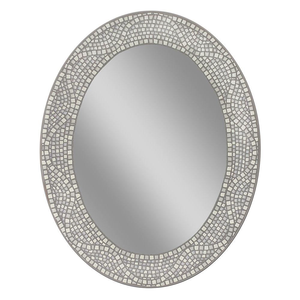 Deco Mirror 23 In X 29 In Opal Mosaic Oval Mirror 8179 The Home