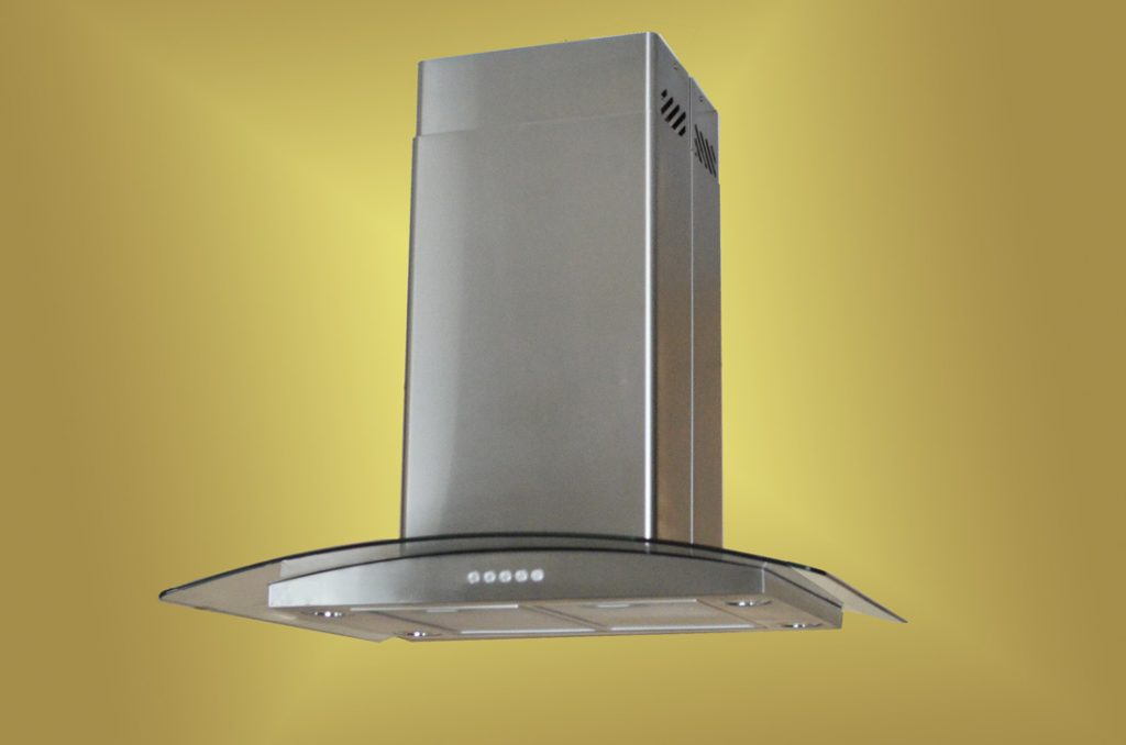 Decor Curved Glass And Stainless Steel Vent Hood With Led For