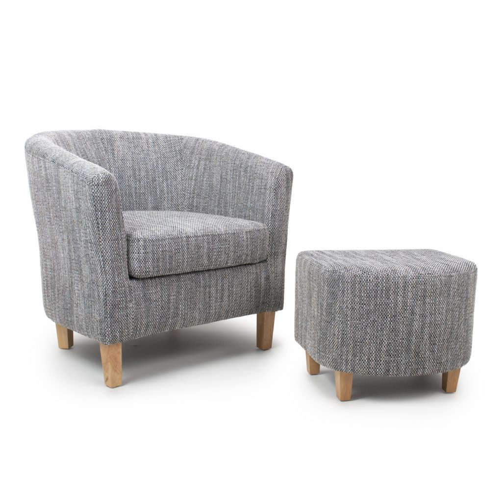 Der Grey Tweed Tub Chair And Stool Grey Tub Chair