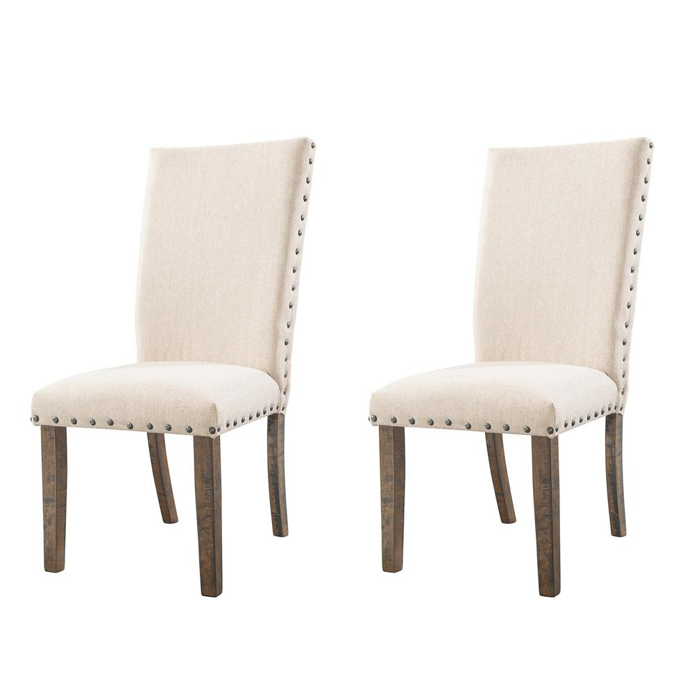 Dex Smookey Walnut Upholstered Side Chair Set Djx100sco The Home Depot