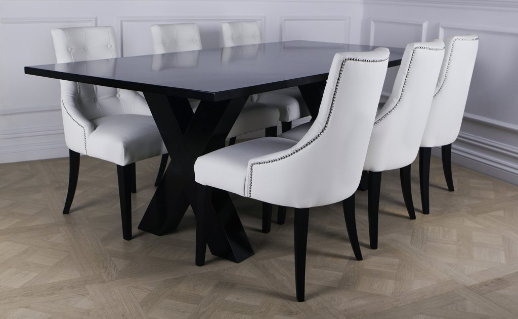 Dining Chair Modern Chrome Dining Chairs Black Leather Look Dining