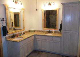 L-shaped Master Bathroom Double Sink Vanity