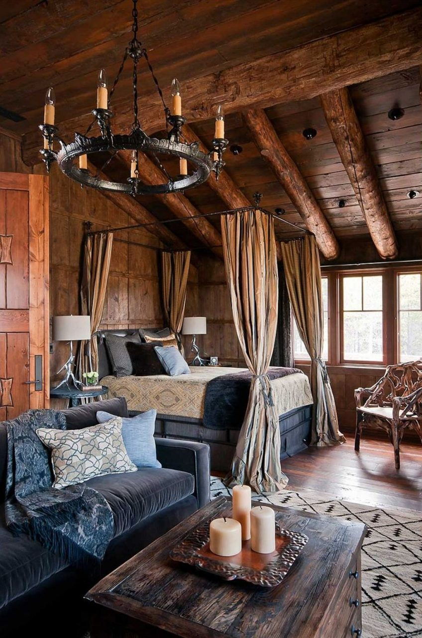 Dream Houses Rustic Log Cabin Bedroom With A Cozy Canopy Bed Cozy