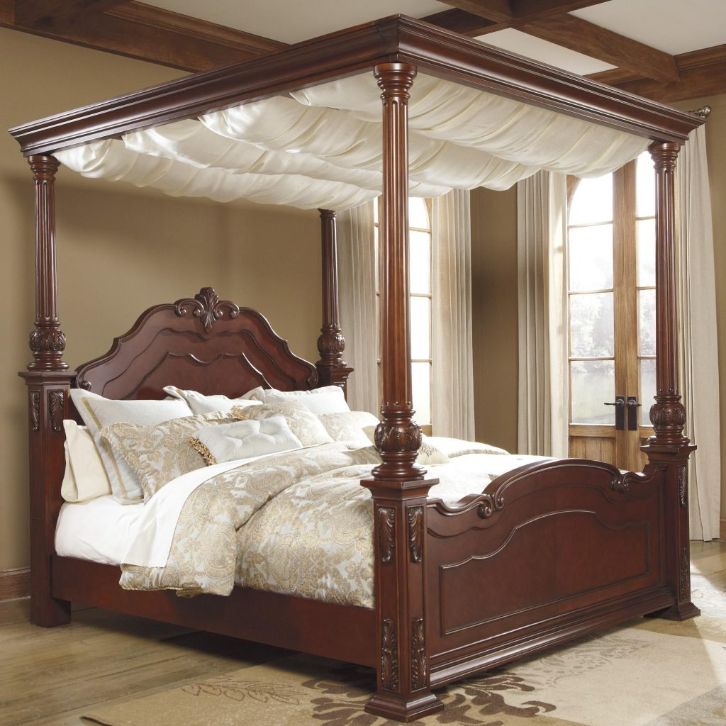 Elegant Canopy Bed Curtains King With Majestic Cream Color Sheer