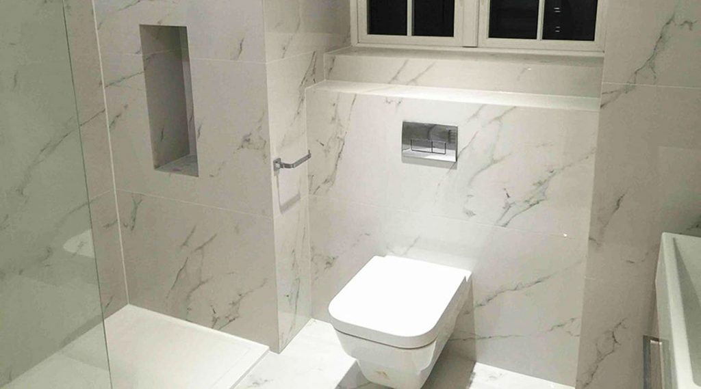 En Suite Bathroom With White Marble Effect Porcelain Tiles Bathroom