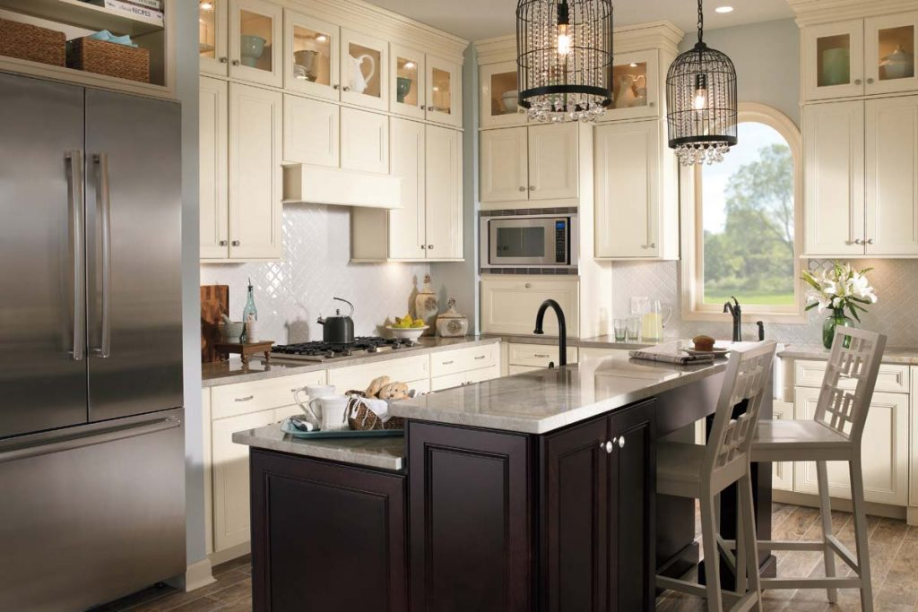 Excellent Brown Color Oak Wood Merillat Kitchen Cabinets Featuring