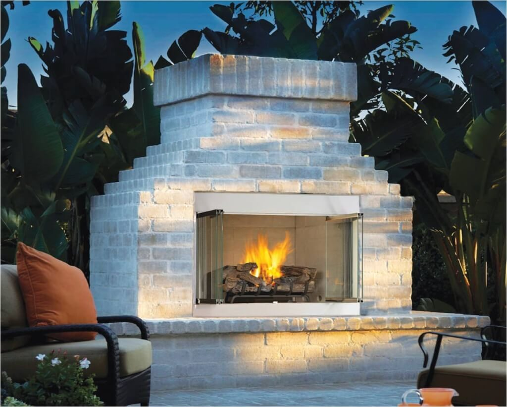 Exterior Design Engaging Brick Fireplace Backyard Design With Gas