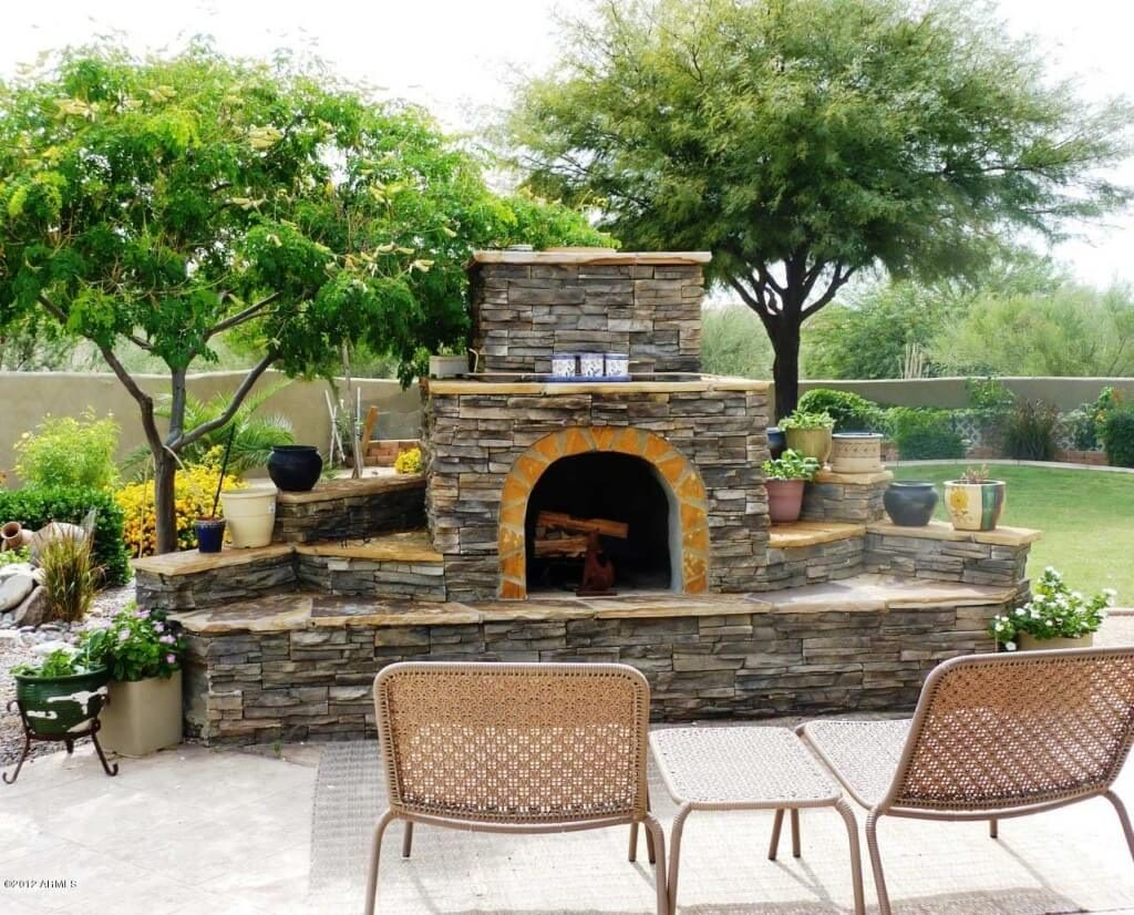 Exterior Design Enticing Backyard Fireplace Plans With Beautiful