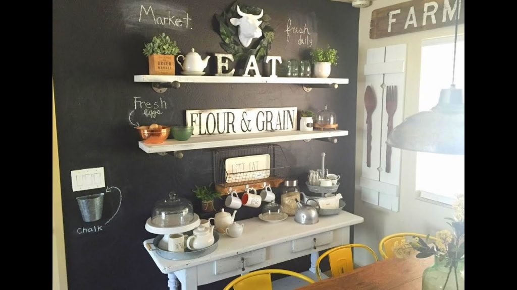 Farm Kitchen Chalkboard Wall And Chalk Painted Table Youtube