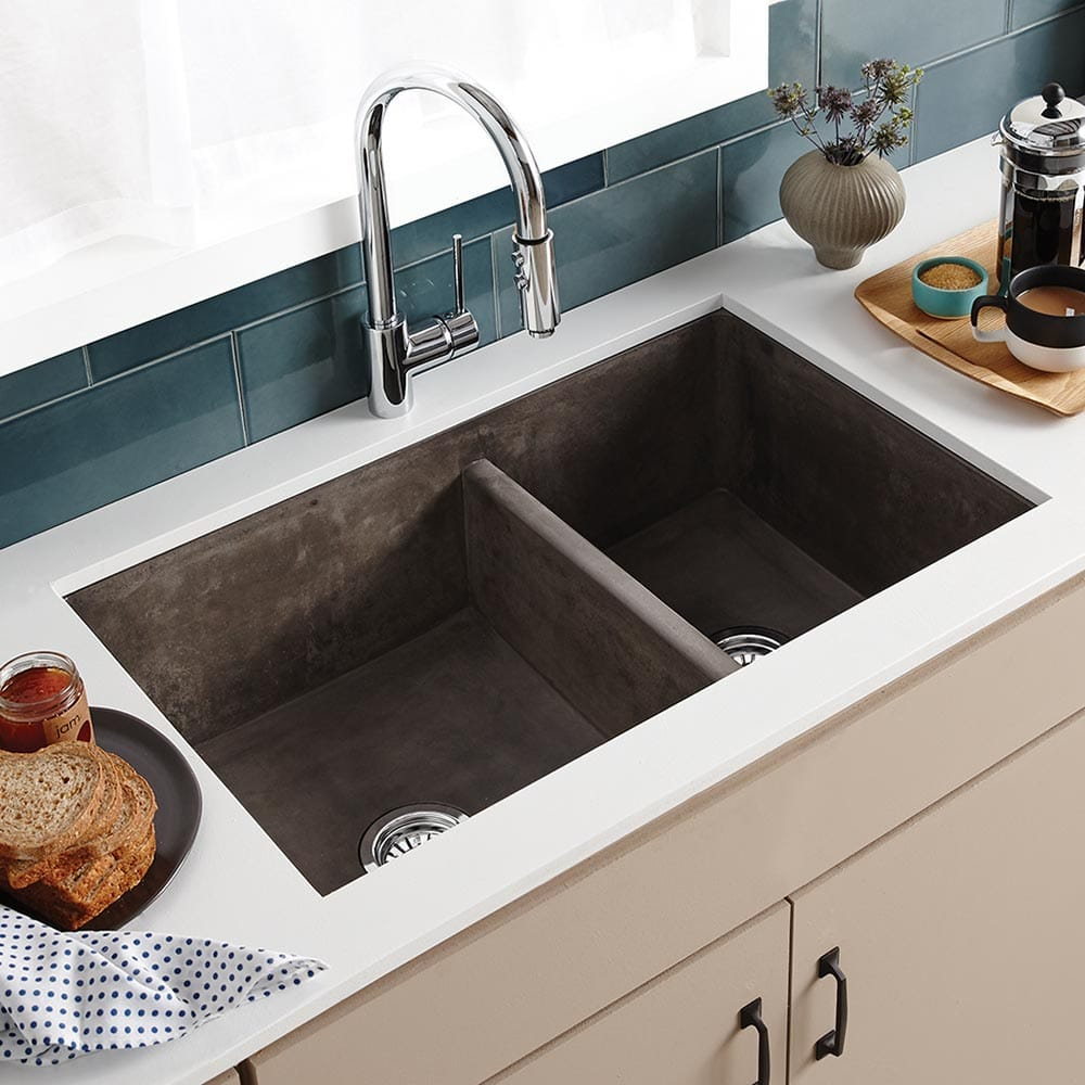 Farmhouse Double Bowl Concrete Kitchen Sink