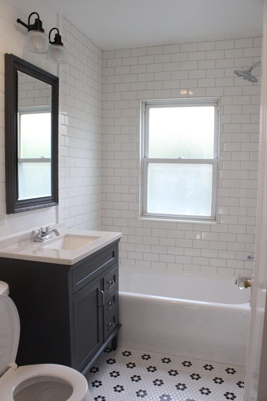 Farmhouse Style Bathroom Remodel White Subway Tile Shower Gray