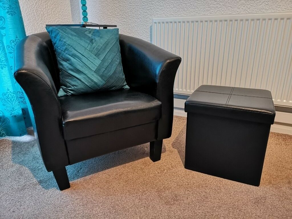 Faux Leather Black Tub Chair Includes Footstool Storage In Rotherham