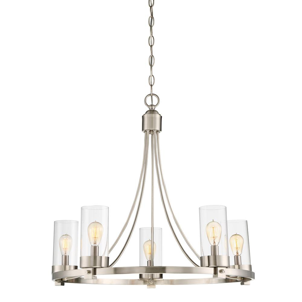 Filament Design 5 Light Brushed Nickel Chandelier With Clear Glass