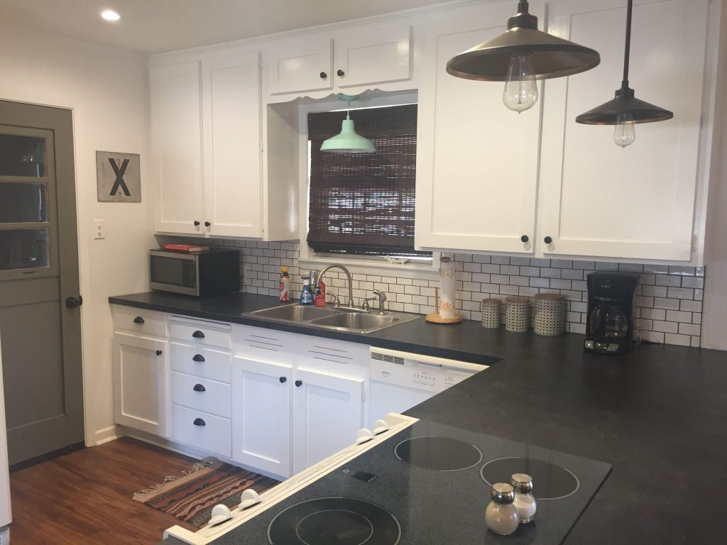 Formica Basalt Slate With Scovato Finish Mini Subway Tiles And