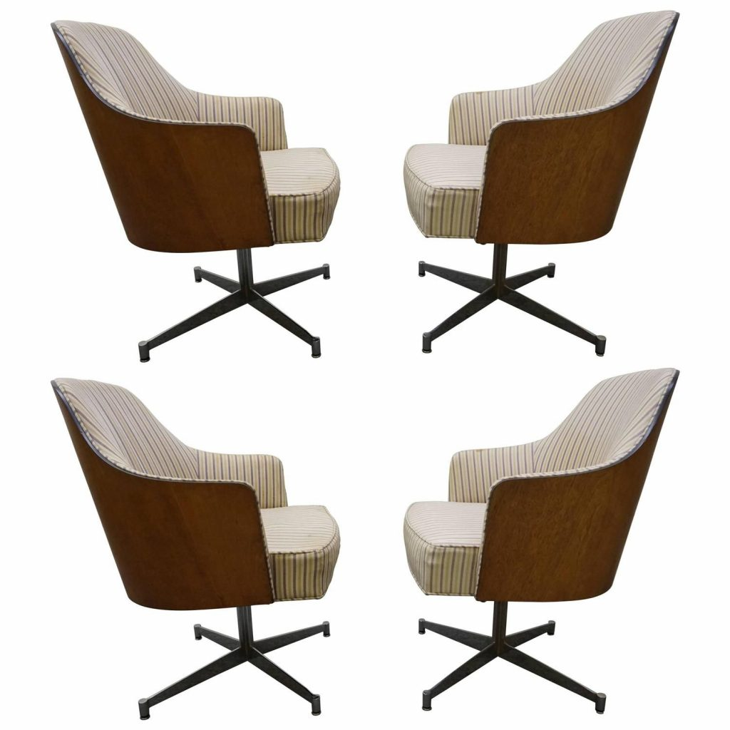 Four Milo Baughman Style Teak Back Swivel Dining Chairs Mid Century