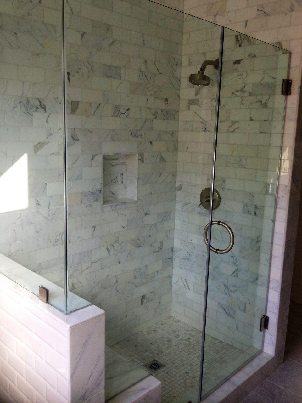 Frameless Shower Glass Door With Cut Out For Bench Frameless Glass