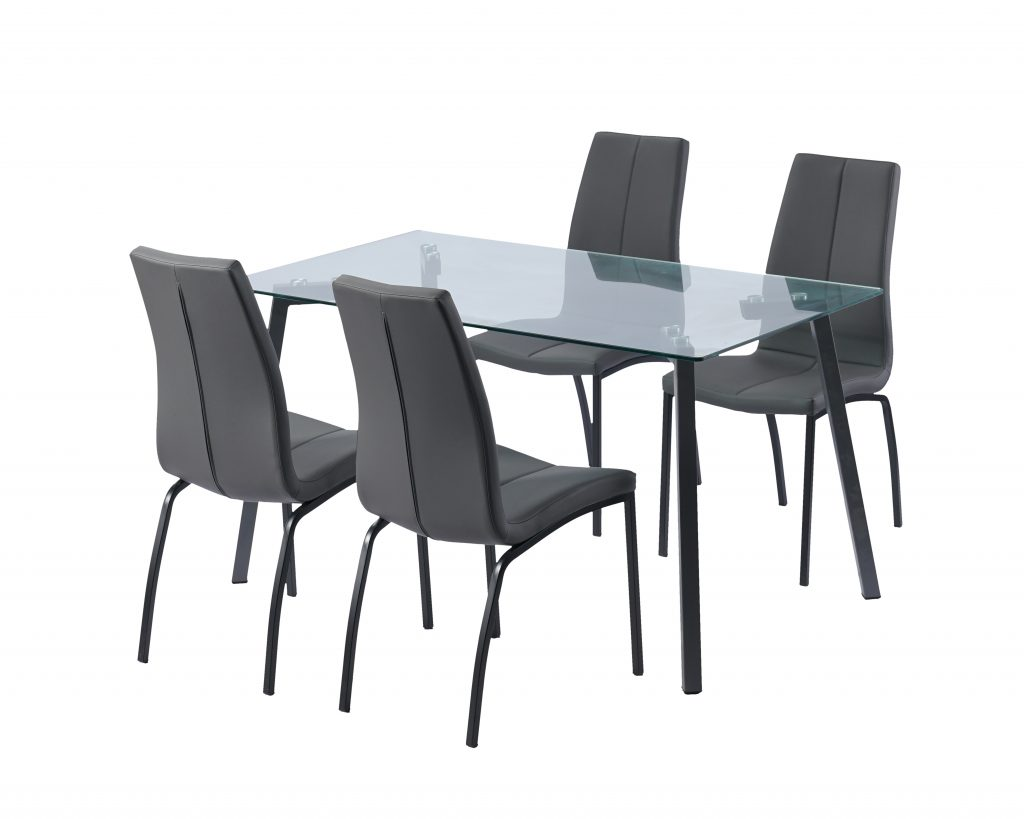 Free Sample Cheap Classic 4 Seater Modern Fiber Glass Top Dining
