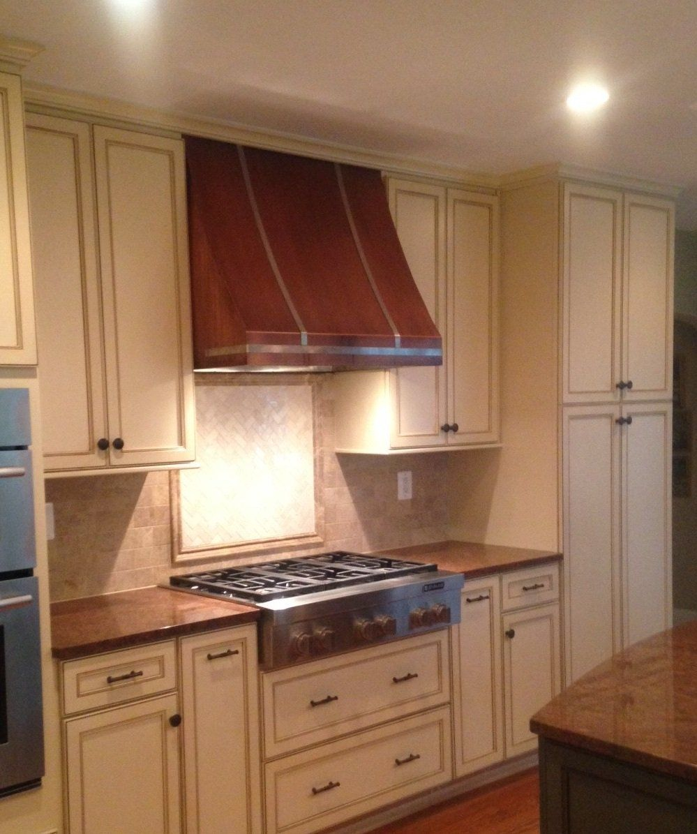 French Country Copper Range Hood Handcrafted In Usa White French
