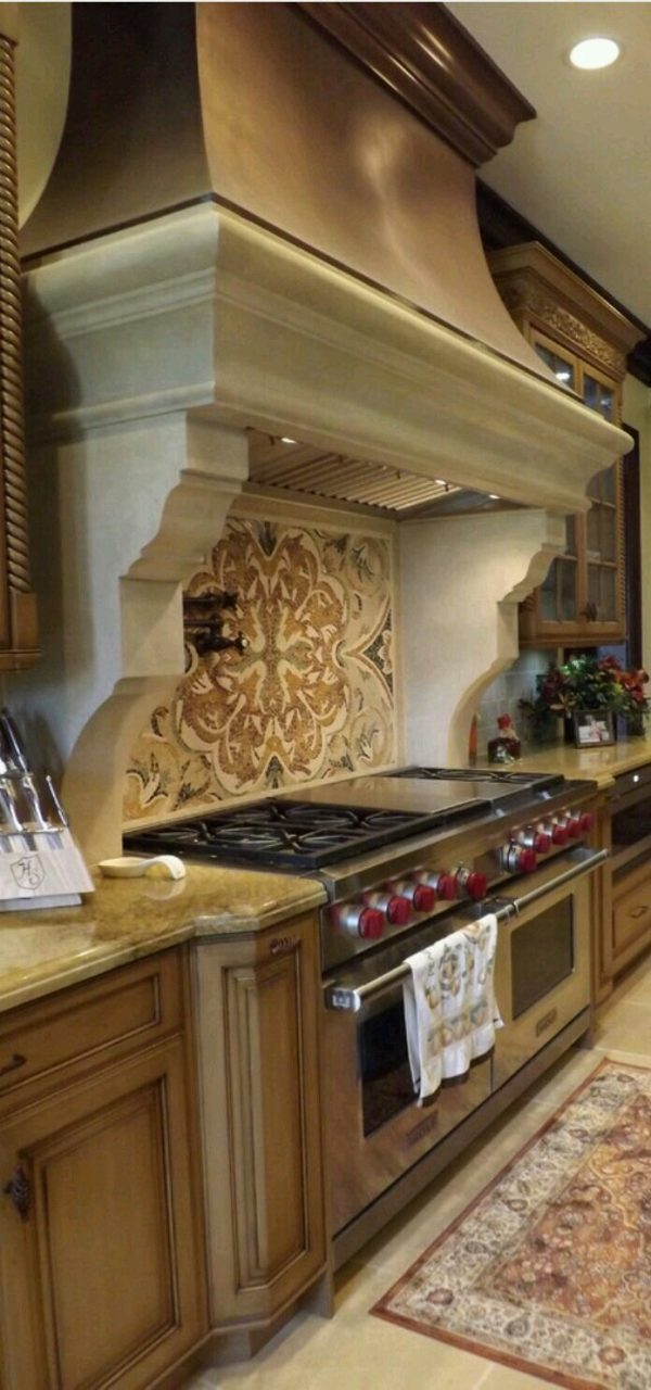 French Country Kitchen Classic Beautiful Stove Backsplash And
