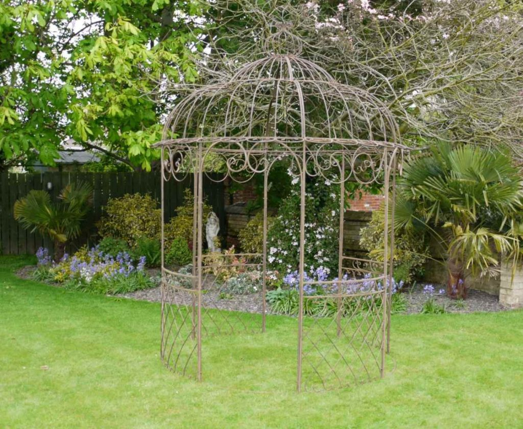 French Shab Chic Brown Wrought Iron Metal Garden Fancy Decorative