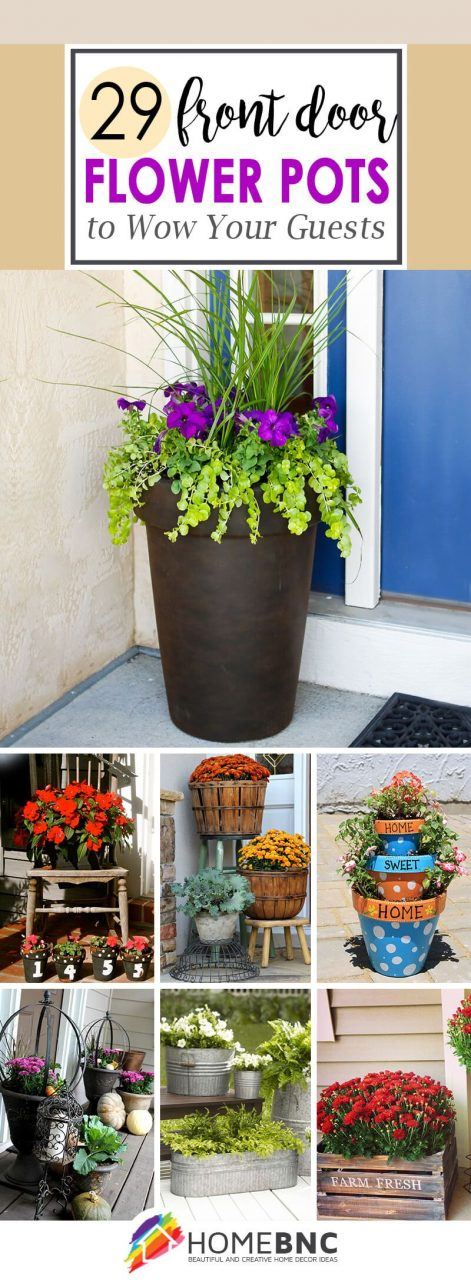 Front Door Flower Pot Ideas Outdoor Inspiration Pinterest