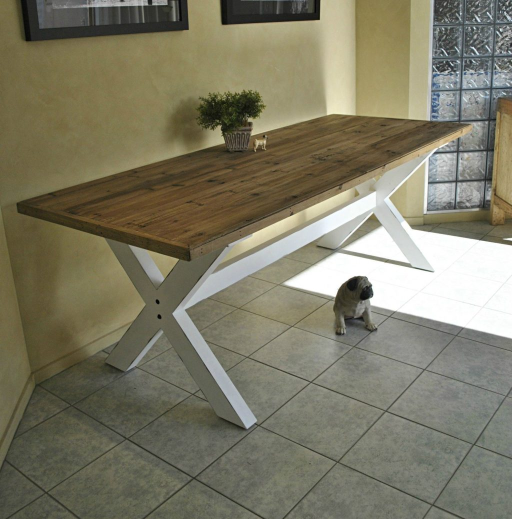 Furniture Old Farmhouse Kitchen Table With Reclaimed Wooden Top And